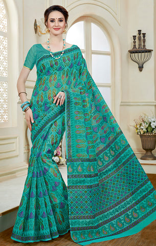 Designer Casual Wear Sea Green Printed Cotton Saree