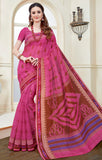 Designer Casual Wear Dark Pink Printed Cotton Saree