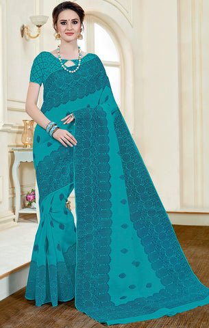 Designer Casual Wear Sky Blue Printed Cotton Saree
