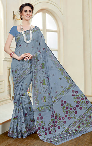 Designer Casual Wear Light Grey Printed Cotton Saree
