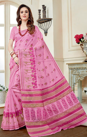 Designer Casual Wear Light Pink Printed Cotton Saree