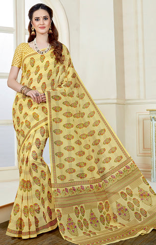 Designer Casual Wear Yellow Printed Cotton Saree
