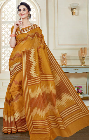 Designer Casual Wear Orange Printed Cotton Saree