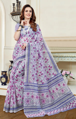 Designer Casual Wear White & Purple Printed Cotton Saree