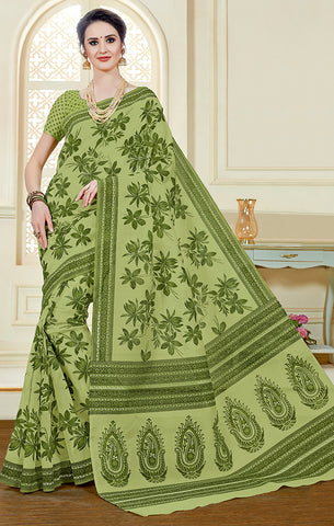 Designer Casual Wear Green Printed Cotton Saree