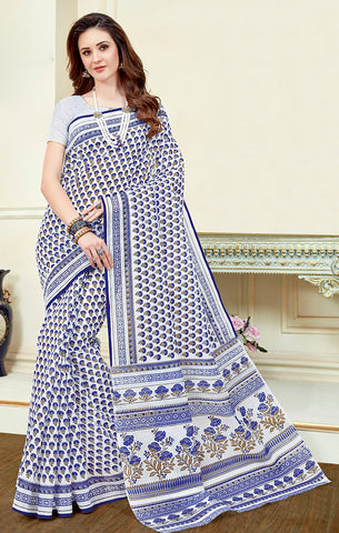 Designer Casual Wear White & Blue Printed Cotton Saree