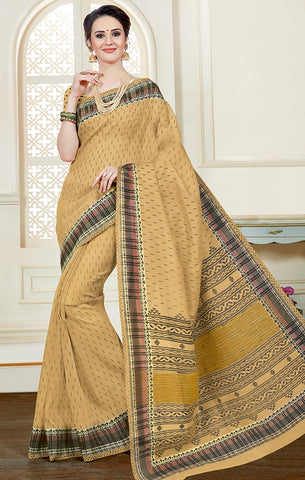 Designer Casual Wear Dark Beige Printed Cotton Saree