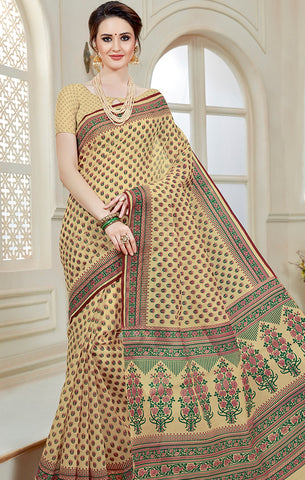 Designer Casual Wear Light Beige Printed Cotton Saree