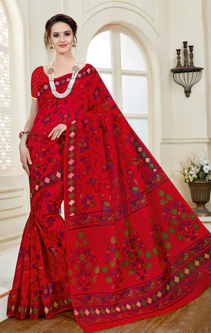 Designer Casual Wear Blood Red Printed Cotton Saree