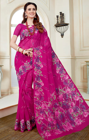 Designer Casual Wear Magenta Printed Cotton Saree