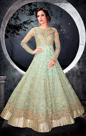 Designer Party Wear Light Green Semi- Stitched Floor Length Suit