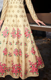 Designer Party Wear Beige Silk Semi-stitched Floor Length Suit