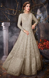 Designer Party Wear Light Grey Net Floor Length Suit