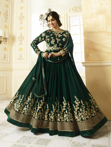 Buy Dark Green Embroidered Georgette Semi- Stitched Anarkali Suit Online By Takshaya