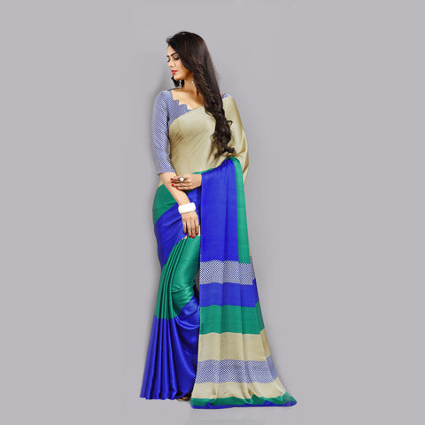 Casual Blue and Beige Printed Satin Saree by Takshaya