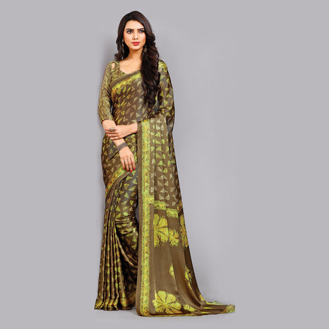 Buy Casual Brown Printed Satin Saree Online by Takshaya