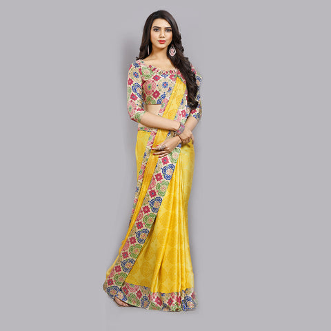 Buy Casual yellow Printed Satin Saree Online by Takshaya
