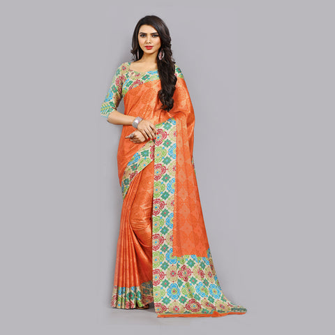 Casual Orange Printed Satin Saree by Takshaya