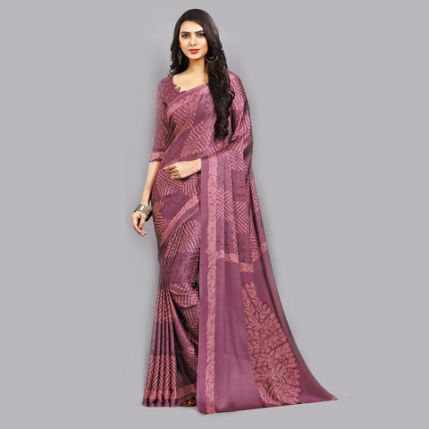 Casual Purple Printed Satin Wear Saree by Takshaya