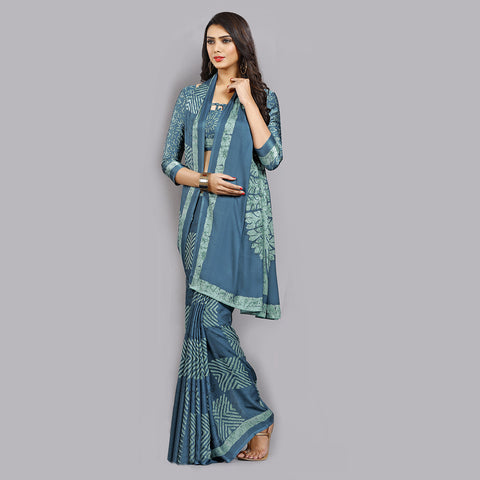 Buy Casual Turquoise Printed Satin Saree Online by Takshaya