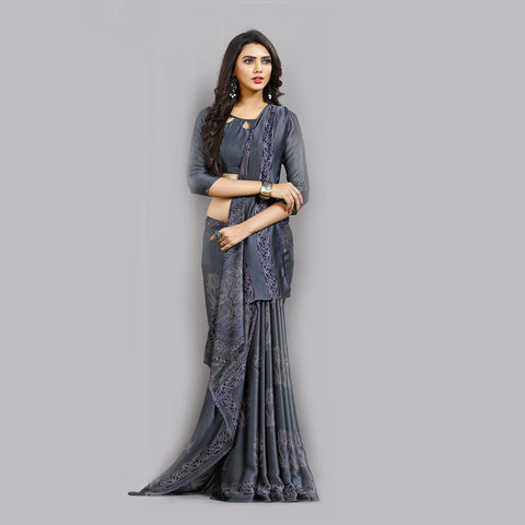 Buy Casual Dark Grey Printed Satin Saree Online by Takshaya