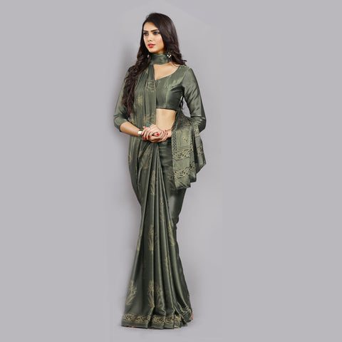 Buy Casual Olive Green Printed Satin Saree Online by Takshaya