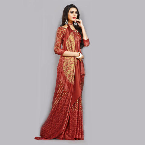 Buy Casual Red Printed Satin Saree Online by Takshaya