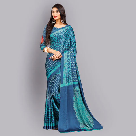 Buy Casual Blue Printed Satin Saree Online by Takshaya
