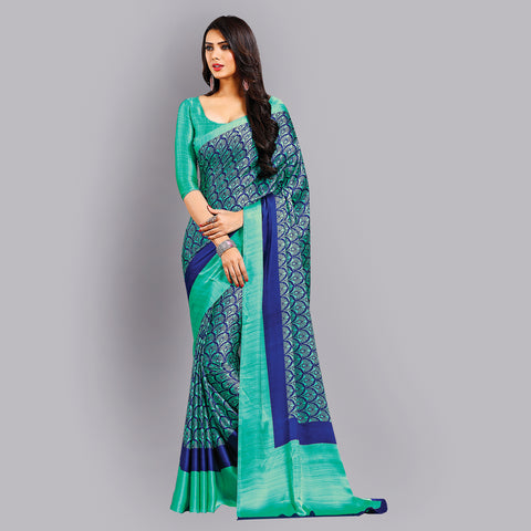 Buy Casual Sky Blue Printed Satin Saree Online by Takshaya