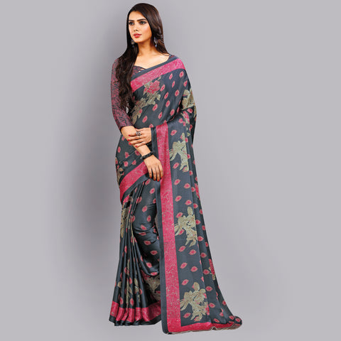 Buy Casual Grey and Pink Printed Satin Saree Online by Takshaya