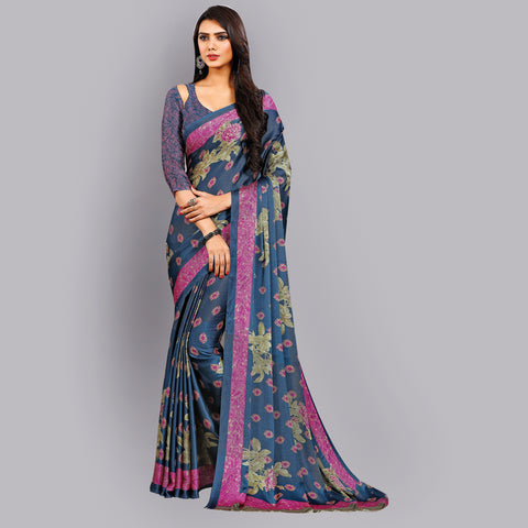 Buy Casual grey and Purple Printed Satin Saree Online by Takshaya