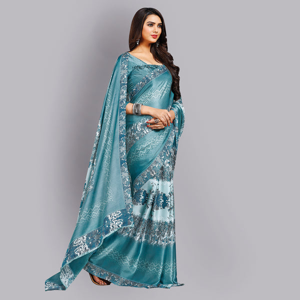 Buy Casual Light Blue Printed Satin Saree Online by Takshaya