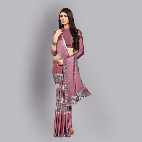 Buy Casual wear Light Purple Printed Satin Saree Online by Takshaya