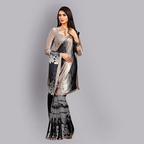 Buy Casual Multicolor Printed Satin Saree Online by Takshaya