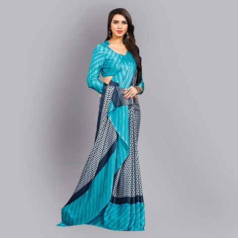 Casual Blue Printed Satin Saree by Takshaya
