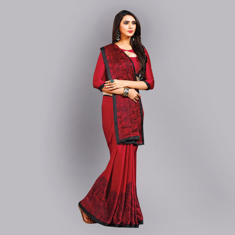 Buy Casual Red and Black Printed Satin Saree Online by Takshaya