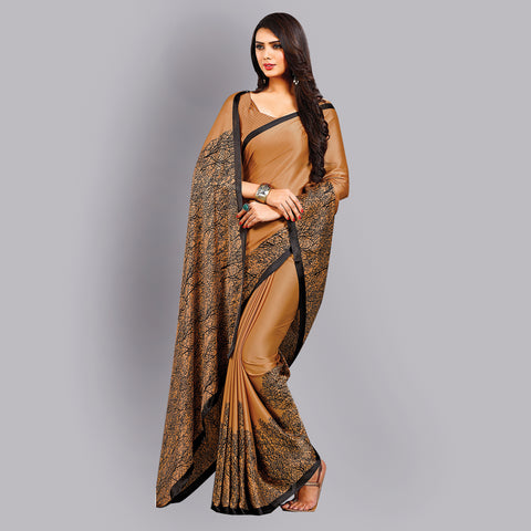 Buy Casual Dark Brown Printed Satin Saree Online by Takshaya