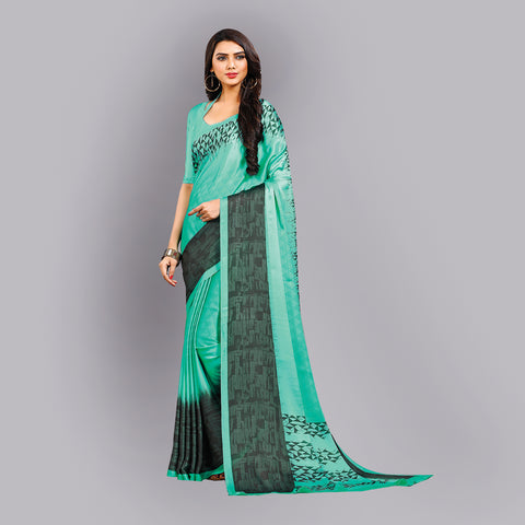 Buy Casual Sea Green Printed Satin Saree Online by Takshaya