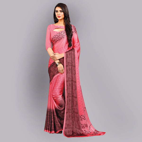 Buy Casual Peach Printed Satin Saree Online by Takshaya