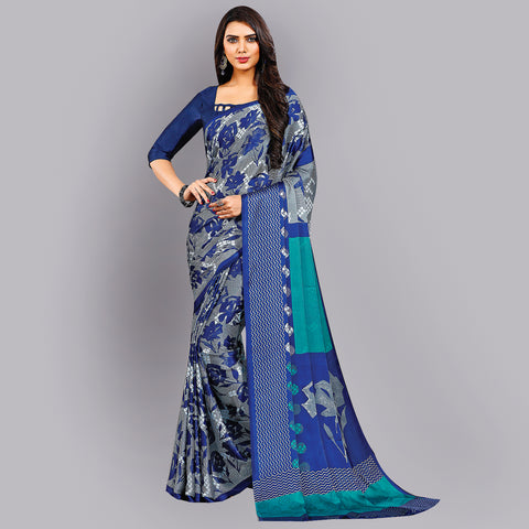 Buy Casual Dark Blue Printed Satin Saree Online by Takshaya