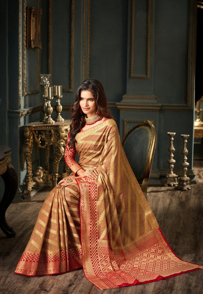 Designer Partywear Beige Art Silk Weaving Saree By Takshaya