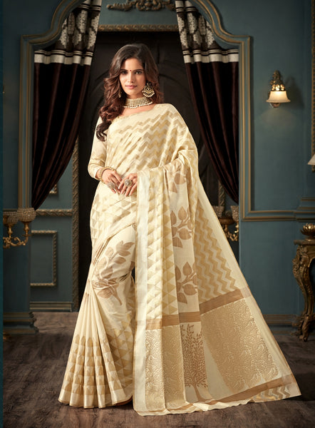 Designer Partywear Off White Art Silk Weaving Saree By Takshaya