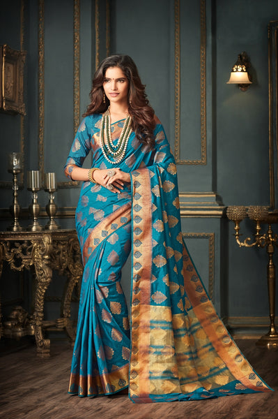 Designer Partywear Blue Art Silk Weaving Saree By Takshaya