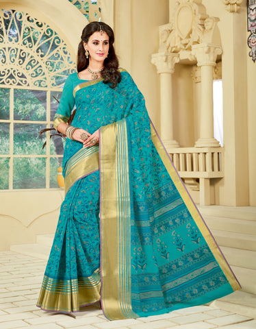 Designer Party Casual Wear Mustard Cotton Printed Saree By Takshaya