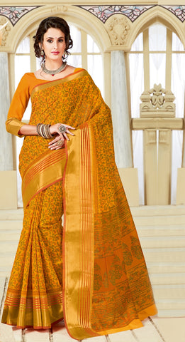 Designer Party Casual Wear Yellow Printed Cotton Saree By Takshaya