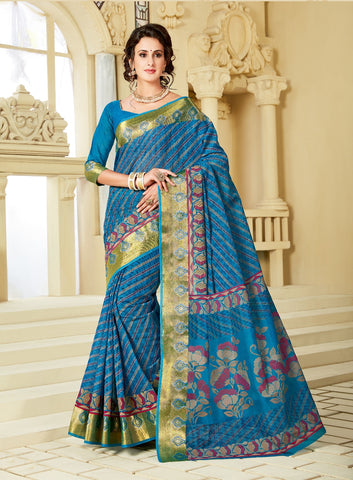 Designer Party Casual Wear Blue Cotton Printed Saree By Takshaya