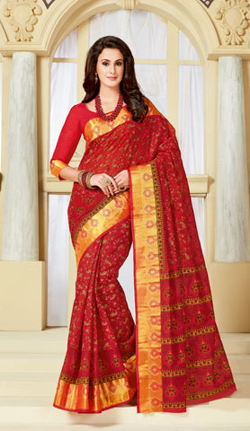Designer Party Casual Wear Red Cotton Printed Saree By Takshaya