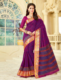 Designer Party Casual Wear Purple Cotton Printed Saree By Takshaya