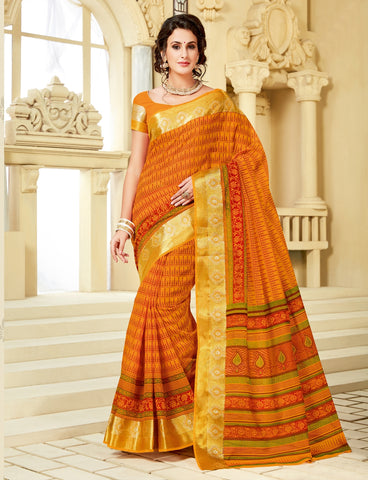 Designer Party Casual Wear Orange Cotton Printed Saree By Takshaya