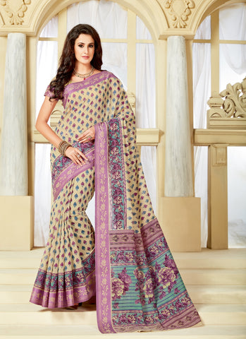 Designer Party Casual Wear Printed Multicolor Cotton Saree By Takshaya